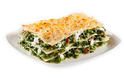 Baby spinach lasagne with mozzarella